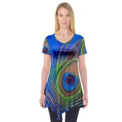 Blue Peacock Feather Short Sleeve Tunic