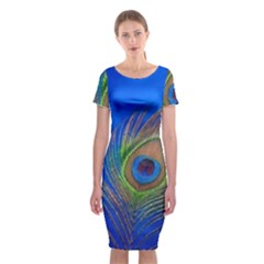 Blue Peacock Feather Classic Short Sleeve Midi Dress