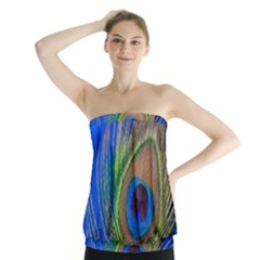 Blue Peacock Feather Strapless Top