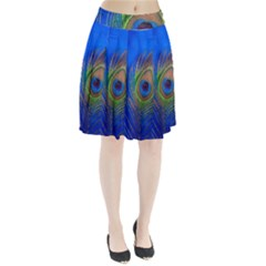 Blue Peacock Feather Pleated Skirt