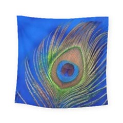 Blue Peacock Feather Square Tapestry (small)