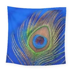 Blue Peacock Feather Square Tapestry (large)