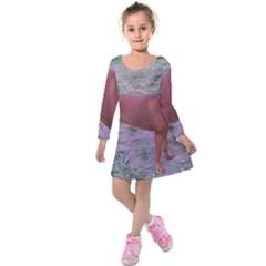 Redbone Coonhound Full Kids  Long Sleeve Velvet Dress