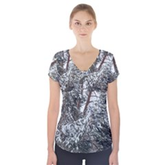 Winter Fall Trees Short Sleeve Front Detail Top