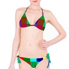 Chessboard Multicolored Bikini Set