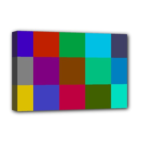 Chessboard Multicolored Deluxe Canvas 18  x 12