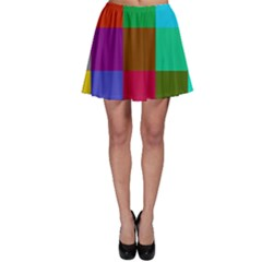 Chessboard Multicolored Skater Skirt