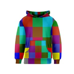 Chessboard Multicolored Kids  Pullover Hoodie