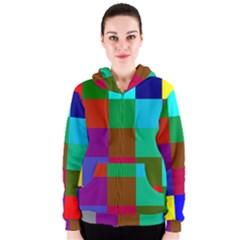 Chessboard Multicolored Women s Zipper Hoodie