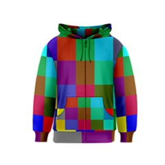 Chessboard Multicolored Kids  Zipper Hoodie