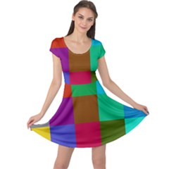 Chessboard Multicolored Cap Sleeve Dresses