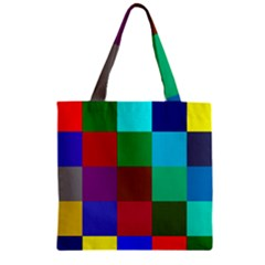 Chessboard Multicolored Zipper Grocery Tote Bag