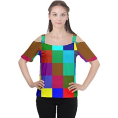 Chessboard Multicolored Women s Cutout Shoulder Tee