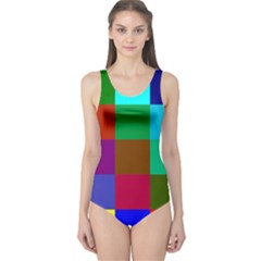 Chessboard Multicolored One Piece Swimsuit
