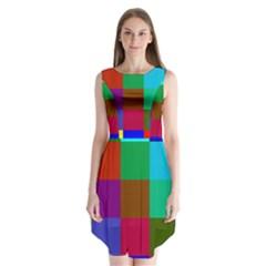 Chessboard Multicolored Sleeveless Chiffon Dress