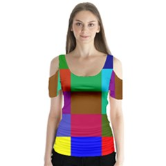 Chessboard Multicolored Butterfly Sleeve Cutout Tee