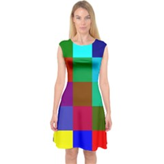 Chessboard Multicolored Capsleeve Midi Dress