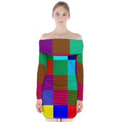 Chessboard Multicolored Long Sleeve Off Shoulder Dress