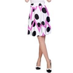 Wave Chevron Circle Purple Green White Black A-Line Skirt