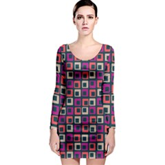 Abstract Squares Long Sleeve Bodycon Dress
