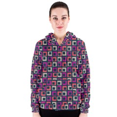 Abstract Squares Women s Zipper Hoodie