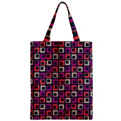 Abstract Squares Zipper Classic Tote Bag