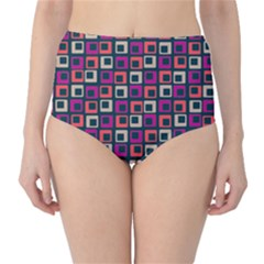 Abstract Squares High-Waist Bikini Bottoms