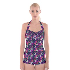 Abstract Squares Boyleg Halter Swimsuit