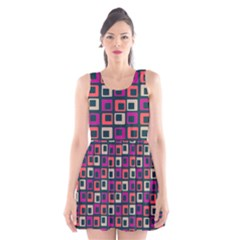Abstract Squares Scoop Neck Skater Dress
