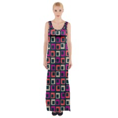 Abstract Squares Maxi Thigh Split Dress