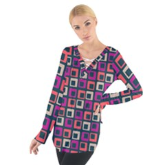 Abstract Squares Women s Tie Up Tee