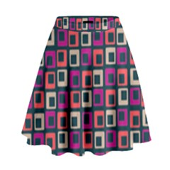 Abstract Squares High Waist Skirt
