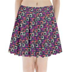 Abstract Squares Pleated Mini Skirt