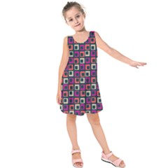Abstract Squares Kids  Sleeveless Dress