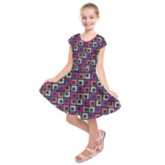 Abstract Squares Kids  Short Sleeve Dress