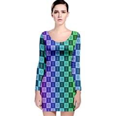 Checker Number One Long Sleeve Velvet Bodycon Dress