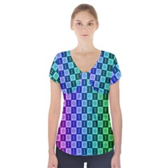 Checker Number One Short Sleeve Front Detail Top