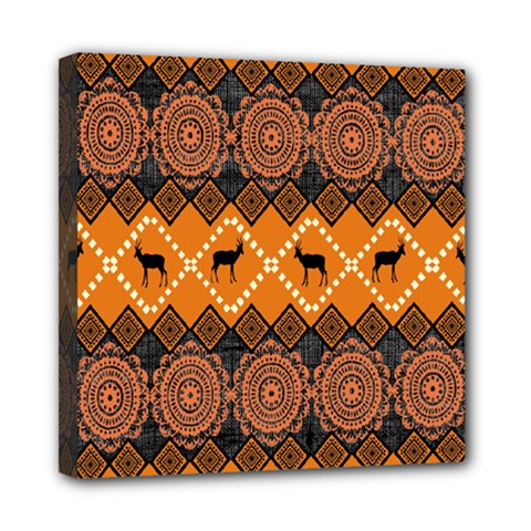 African Pattern Deer Orange Mini Canvas 8  x 8