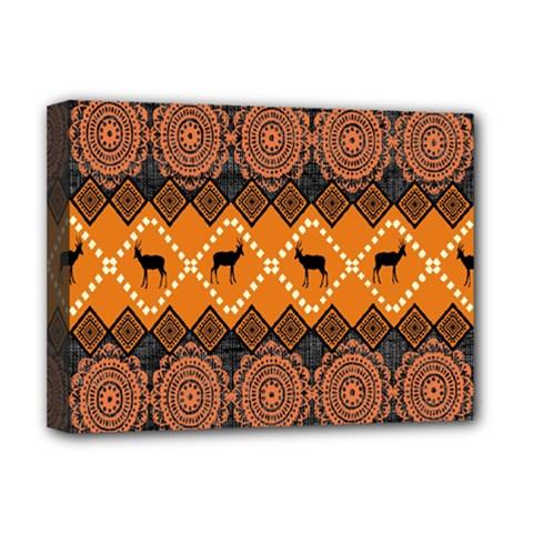 African Pattern Deer Orange Deluxe Canvas 16  x 12