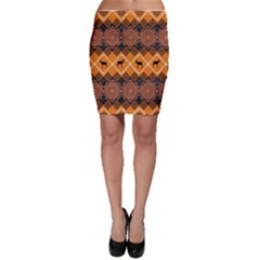 African Pattern Deer Orange Bodycon Skirt