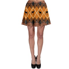 African Pattern Deer Orange Skater Skirt