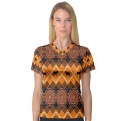 African Pattern Deer Orange Women s V-Neck Sport Mesh Tee