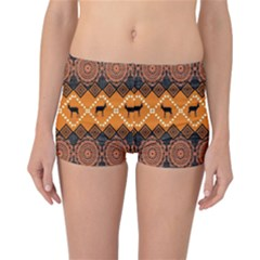 African Pattern Deer Orange Reversible Bikini Bottoms