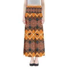 African Pattern Deer Orange Maxi Skirts