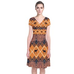African Pattern Deer Orange Short Sleeve Front Wrap Dress