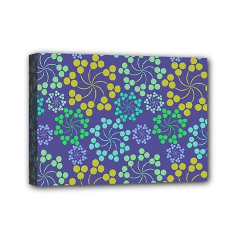 Color Variationssparkles Pattern Floral Flower Purple Mini Canvas 7  x 5