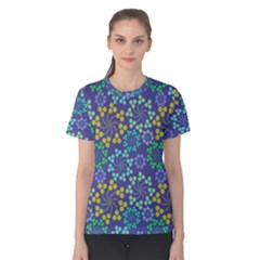 Color Variationssparkles Pattern Floral Flower Purple Women s Cotton Tee