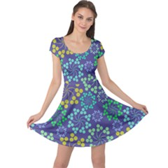 Color Variationssparkles Pattern Floral Flower Purple Cap Sleeve Dresses