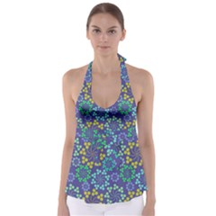 Color Variationssparkles Pattern Floral Flower Purple Babydoll Tankini Top