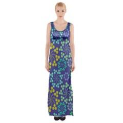 Color Variationssparkles Pattern Floral Flower Purple Maxi Thigh Split Dress